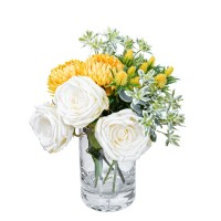 ROSE AND CHRYSANTHEMUM MIXED ARRANGEMENT IN VASE