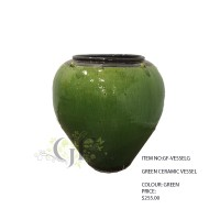 GREEN CERAMIC VESSEL