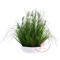 53CM LAVENDER W/GRASS IN BOWL